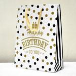 арт. SR067-B3 Пакет для подарков С Днём Рождения Конфетти белый с блёстками 40*30*12 см. Оптовая цена 75 руб.