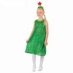 Детский карнавальный костюм Ёлочка, рост 104 см , размер 28, арт. 56818. Комплект: платье из дождя, ободок со звездой. Цена 460 руб.