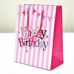 арт. SR076-C1 Пакет для подарков С Днём Рождения Флажки с блёстками розовый 23*18*10 см. Оптовая цена 45 руб.