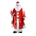 Карнавальный костюм Дед Мороз Царский, рост 188 см,, размер 54 - 56, арт. 37309. Комплект: шуба, шапка, варежки, борода, парик, мешок. Цена: 8550 руб.