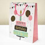 арт. 9439-26 Пакет для подарков Именинный торт с глиттером 26*32*10 см. Оптовая цена 60 руб.
