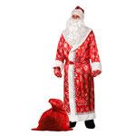 Карнавальный костюм Дед Мороз, сатин красный, рост 188 см, размер 54 - 56, арт. 42255. Комплект: шуба, шапка, варежки, пояс, борода, мешок. Цена: 3234 руб.