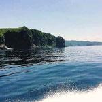 知床半島の浸食された崖