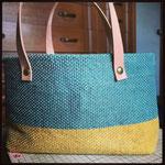 麻糸(atelier Bocco製)手織りバック ブルー×イエロー ¥13000