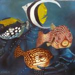 La danse des astres, hommage à Félicien David (60 X 73 cm) 1993. Christine de Hédouville
