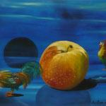 Le réveil de la pomme  (33 X 46 cm) 2001. Christine de Hédouville