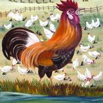 Coq et poules blanches (64,5 X 53,5 cm). Christine de Hédouville