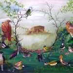 Le nid de l'aigle ou le refuge du petit perroquet (59,5 X 72 cm) 1989. Christine de Hédouville