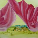 Petit nuage rose sur la Montagne Noire ( 73 X 59,5 cm) 1995. Christine de Hédouville