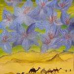 Ciel au-dessus de la caravane (50 X 40 cm). Christine de Hédouville