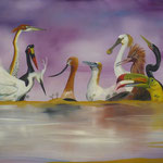 La faune de l'Atoll (55 X 92 cm) 1991 Christine de Hédouville