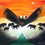 La voie des éléphants (42 X 27 cm) 1996. Christine de Hédouville