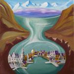 O'Donnohue et le lac de Killarney (46 X 55 cm) 1989 ou 1990. Christine de Hédouville