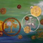 Le jardin du numismate (42 X 62,5 cm)1989. Christine de Hédouville
