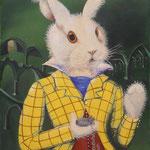 Le lapin blanc d'Alice (39 X 50 cm) 1974. Christine de Hédouville