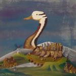 Le projet de l'oie (38 X 41 cm) 1989 Christine de Hédouville