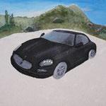 Das Endresultat: Verwendete Materialien: Autogips, Gips, Sand, Glas, Glitzersteine und Acrylgel und Acrylfarbe