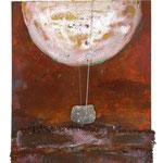 SCHWINGUNGEN II,  Oxidation, Cellosaiten, Granit auf Holz 50 x 40 cm, 2015