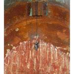 SCHWINGUNGEN III,  Oxidation, Leder, Türkis, Grüner Jaspis auf Holz 50 x 40 cm, 2015