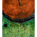 SCHWINGUNGEN I,  Oxidation, Glasperlen auf Holz 50 x 40 cm, 2015