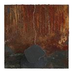 SCHWINGUNGEN VI,  Oxidation, Kupfer, Schiefer auf Malplatte, 20 x 20 cm, 2015