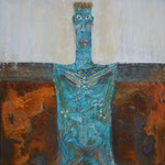 GARDIENNE DES PHARES, Oxidation, Acryl, Kreide auf Holz, 40 x 40 cm, 2013
