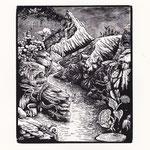 """""""Die Tiere"""" Dante, Inferno 1. Gesang, 2015, Holzstich 16,6 x 14 cm"""