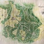 Karte Wolfsteigehof, 2020, 50 x 70 cm, Tusche, Aquarell, Buntstifte