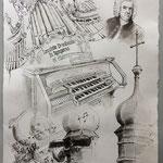 Collage mit Orgel von St. Peter, Tusche, laviert, 2020