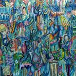 «Parvati's Tempeltänze», 100x100 cm, Acryl auf Leinwand 2000