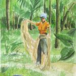 Inde - femme filant le chanvre