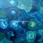 Tanzende PinselBlau-Grün, 70 x 50 cm, Acryl auf Papier, (c) Irene Ehlers 2017