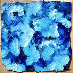 Tanzende Pinsel Blau I, ca. 28 x 28 cm, Acryl auf Pappe, (c) Irene Ehlers 2017