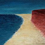 Rotes Kliff Kampen VIII_ 2 50 x 50 x 4 Mixed Media auf Leinwand, ©Irene Ehlers 2014