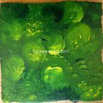Tanzende Pinsel Grün, ca. 33 x 33 cm, Acryl auf Pappe auf MDF Platte , (c) Irene Ehlers 2017
