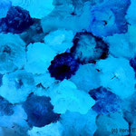 Tanzende Pinsel Blau II, 70 x 50 cm, Acryl auf Papier, (c) Irene Ehlers 2017