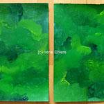 Tanzende Pinsel Paper Pairs Grün, 30 x 40 cm, Acryl auf Papier, (c) Irene Ehlers 2017