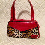 Rockabilly bag custom-made for Ivy - red glitter vinyl with leopard