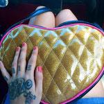 the love me bag gold glitter
