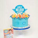 """Taart ter viering introductie magazine """"Echte Helden Lezen"""" in opdracht van Uitgeverij Blink te Den Bosch"""
