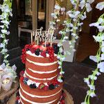 Red Velvet Naked WeddingCake, Karin en Paul, Bruidstaart Den Bosch, Weddingcake Den Bosch