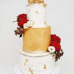 SemiNaked and Gold WeddingCake, Dineke en Simon,  Bruidstaart Den Bosch, WeddingCakes Den Bosch