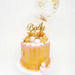 It's a Girl!, Golden babyshower Cake, Taart Den Bosch