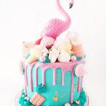 Flamingo Cake, Blue Love, Maan, Taart Den Bosch