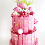 Flamingo taart with Meringue. Flamingo taart Saar, Taart Den Bosch