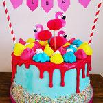 Flamingo drip cake, Taart Den Bosch