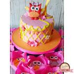 Uiltjes taart in vrolijke kleuren, Fenne, Taart Den Bosch
