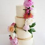 WeddingCake with real flowers, Leonie en Stefan, Bruidstaart Den Bosch
