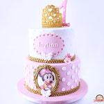 Minnie Mouse taart, roze met goud, Jaylinn, Taart Den Bosch