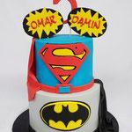 SuperHero Cake, Batman en Superman Taart, Omar en Damin, Taart Den Bosch